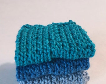 Miniature Faux Shelf Blankets - Shabby Chic Hand Knitted - Stack of 3 -Peacock, Blue, Soft Blue