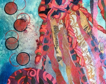 Jellyfish Giclee' Print, Nautical Art, Jellyfish Art, Nautical Wall Decor, Jellyfish, Ocean Mixed Media Collage, Sea Art
