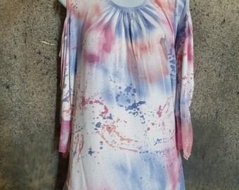 Sprayed and Splatter Blouse (Pink, Blue, Orange)