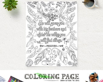 Coloring Page Printable Feather Bible Verse Psalm 91 Instant Download Adult Quote Digital