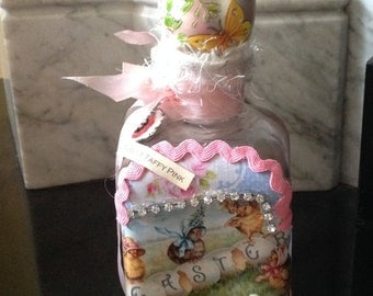 Beautiful Vintage Easter themed Altered bottle