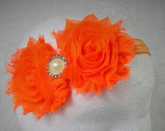 Orange Shabby Chic Baby Headband, Baby Girl Headband, Baby Flower Headband, Newborn Headband, Little Girl Headband, Orange Flower Headband