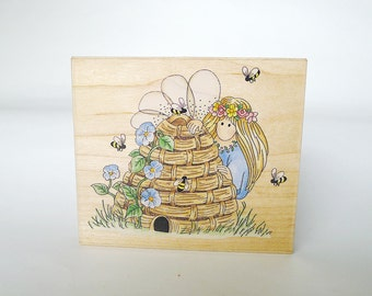 Fairy Beehive Rubber Stamp, Bumble Fairy Beekeeper Rubber Stamp, Stamps Happen Linda Grayson 70025 Bumble Scrapbooking Invitations