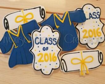 12 Graduation Sugar Cookies - Graduation 2016 Gift - Class of 2016 Party Favors