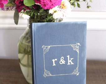 Guest Book, Rustic Wedding Guest Book with Personalization, Rustic Vintage Inspired Weddings, Sign In Book, Wedding Keepsake