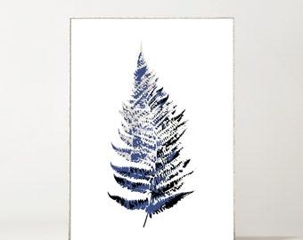 Fern Botanical Giclée Print Blue + Black on White