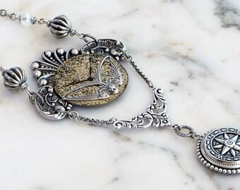 Steampunk Compass Necklace, Steampunk Compass Jewelry, Compass Pendant, Steampunk Pocket Watch Necklace, Silver Compass Necklace
