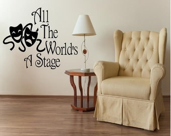 Vinyl Drama Masks, All The Worlds A Stage Wall Art, Drama Wall Art, Theater Decal