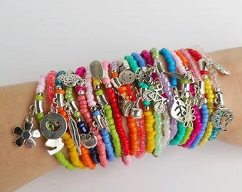 wholesale jewelry - beach jewelry - stretch bracelet - layering bracelet - boho bracelets - festival style - friendship - seed bead bracelet