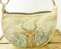 Emily Ann Vintage Hand Painted Abstract Tropical Deer Air Brush Sling Bag Purse