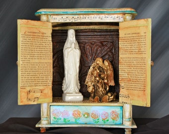 Altar Nicho Mary and Angel Mixed Media  Assemblage Art Box