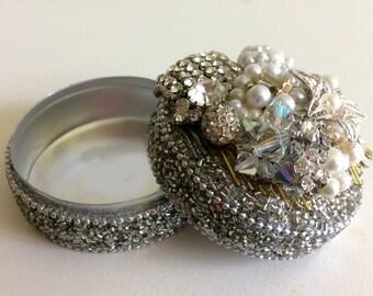Treasure Keepsake Metal Box Embellished with Vintage Jewelry, Crystals and Beads