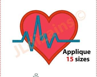 Heartbeat and Heart Applique Design. Heartbeat heart embroidery design. Embroidery heartbeat. Heartbeat applique. Machine embroidery design