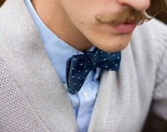 Indigo Bow Tie  Blue Pin Dot Bow Tie  Mens Gift  Wedding Bow Tie