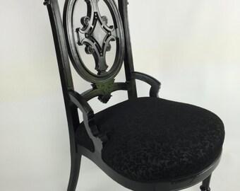 Vintage Eastlake Victorian chair, painted black, reupholstered in black chenille