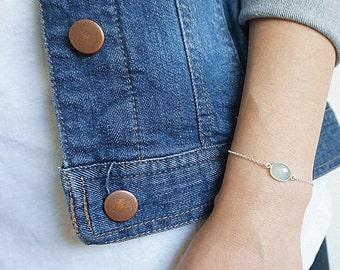 Aqua Green Chalcedony Bracelet, Light Mint Chalcedony Bracelet, Seafoam Gemstone Bracelet, Sterling Silver Bracelet, Sea Foam Gemstone