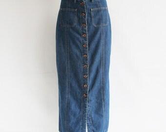Vintage • Maxi Skirt • Denim Skirt • Button Up Skirt • Denim Maxi Skirt • Skirt • Country Skirt • Western Skirt • Cowgirl Skirt • Boho • Mod