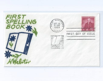 Spelling - Noah Webster Commemorative 4c Stamp on Velvatone First Day Issue Cachet, Unaddressed,  West Hartford, Conn 1958