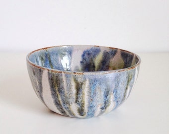 Handmade wheelthrown ceramic earthenware bowl~rounded shape~ blue, green and white glaze~ unique housewarming gift~ birthday gift