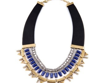 Stella and Dot Inspired Natalie Necklace, Gold and Silver Statement Necklace, Cobalt blue, Vegan Leather, Mixed Metal FREE SHIPPING!