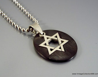 Star of David pendant, talisman, amulet, stainless steel hexagram with chain