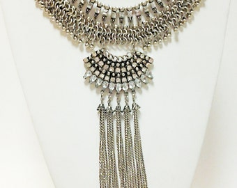 Silver Boho Statement Necklace / Crystal Clear Rhinestones Cascade Necklace / Silver Chain Bib Necklace / Christmas Gift.