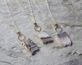 Amethyst, chalcedony and agate slice gold-edged Eternity necklace // geode necklace