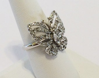 Size 8 Sterling Silver And Clear Rhinestone Butterfly Ring