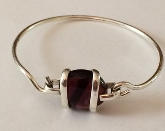 """Sterling Silver And Purple Glass Nugget bracelet 7"""""""
