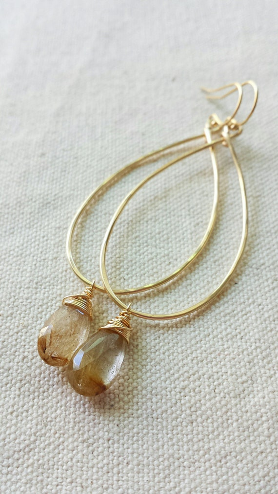 Golden rutilated quartz earrings large gold hoop earrings for Golden rutilated quartz jewelry