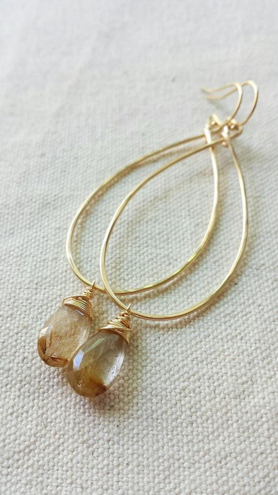 Golden rutilated quartz earrings large gold hoop earrings for Golden rutilated quartz jewelry