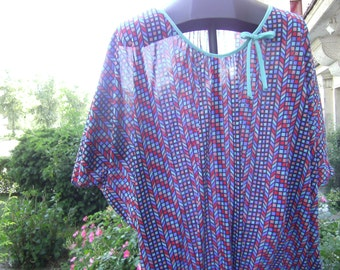 colourful kaftan, blue, red dress, summerdress, woman, XXL.georgette,unikat,handmade from himmeldurchnadeloehr