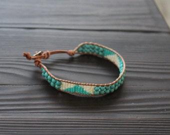Leather Wrap Bracelet, Turquoise, White, Gold, Boho