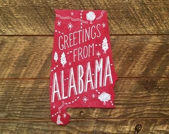 Alabama State Postcard, Greetings from Alabama, Single Die Cut Letterpress State Postcard