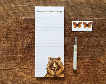 Grizzly Bear Notepad, Beary Important Things, 3.5 x 8.5 List Pad with Attachable Magnet
