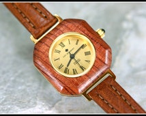 Wooden watch, Square wood watch, Watch women, Wood watch leather, Brown leather watch, Unique watches, Brown wrist watch, Swiss watch.