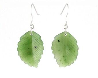 Canadian Nephrite Jade Leaf Earrings, 2432
