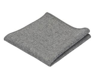 Grey Wool Pocket Square.Solid Wool Handkerchief.Mens Wool Pocket Square