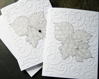Elegant leaf note card set, Autumn note cards, All occasion cards, Just a note, embossed card set, leaves, pearls, set of 6 blank cards