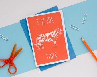Tiger Card. Animal Alphabet Card. 100% Recycled Card & Envelope