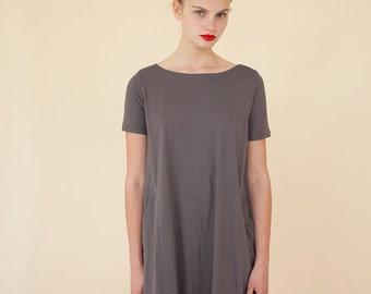 Lily Summer Dress, Short Sleeves Dress, Gray Summer Dress, Dress with Pockets, karin A dress
