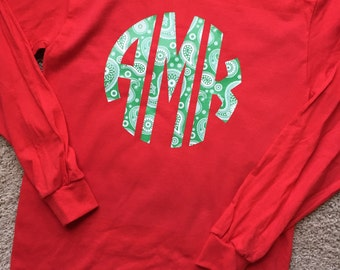 Christmas Monogrammed Long Sleeve for Youth or Adult-Green Paisley Vinyl