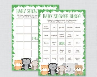Jungle Theme Baby Shower Bingo Cards - Printable Blank Bingo Cards AND 60 Unique PreFilled Cards - Jungle Animals Baby Shower Game - 0042-G
