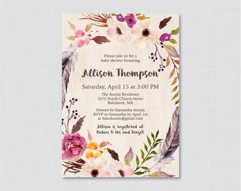 Boho Baby Shower Invitation Printable Or Printed   Bohemian Baby Shower  Invites, Feathers U0026 Flower
