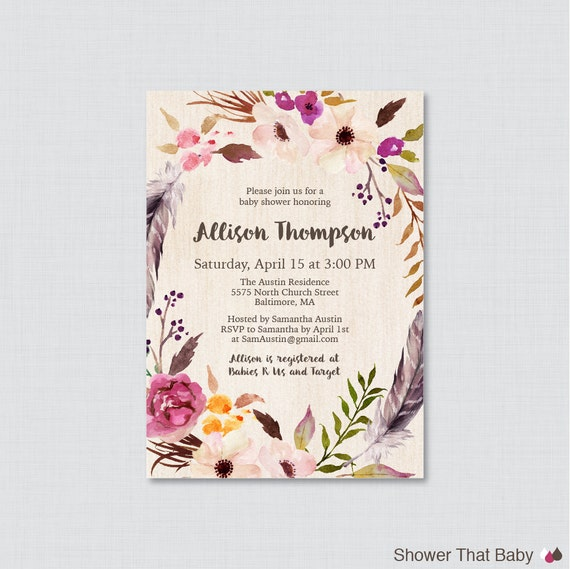 boho baby shower invitation printable or printed bohemian baby