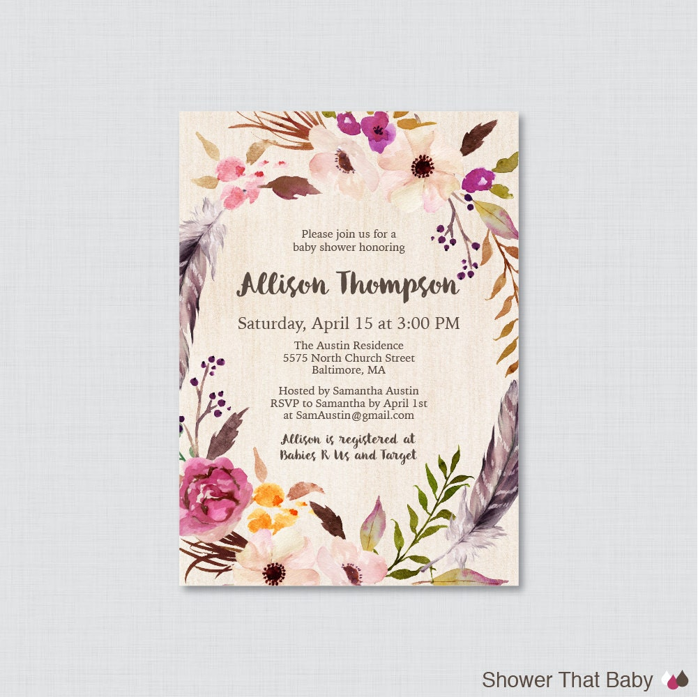 boho baby shower invitation printable or printed bohemian