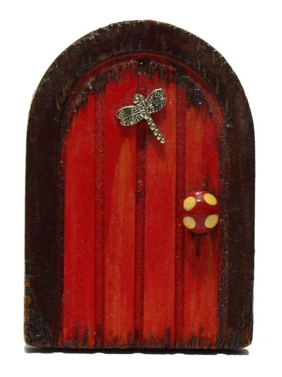 Handmade red dragonfly wooden fairy door by 2wigglefish on for Red elf door