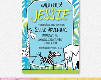 MODERN SAFARI Party Invitation |  Personalised Digital file
