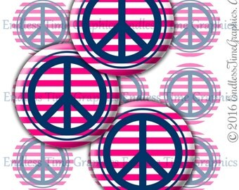Peace Sign Bottle Cap Images, 1 Inch Digital Cupcake Toppers, Images for Scrapbook, Images for Pendant Jewelry, Pink Navy Blue Stripes, 142