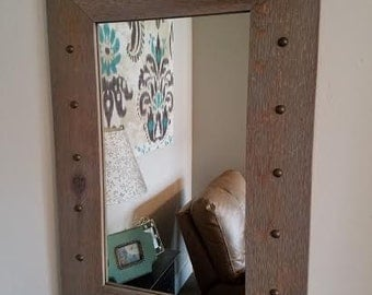 Rustic Mirror w/Decorative Tacks